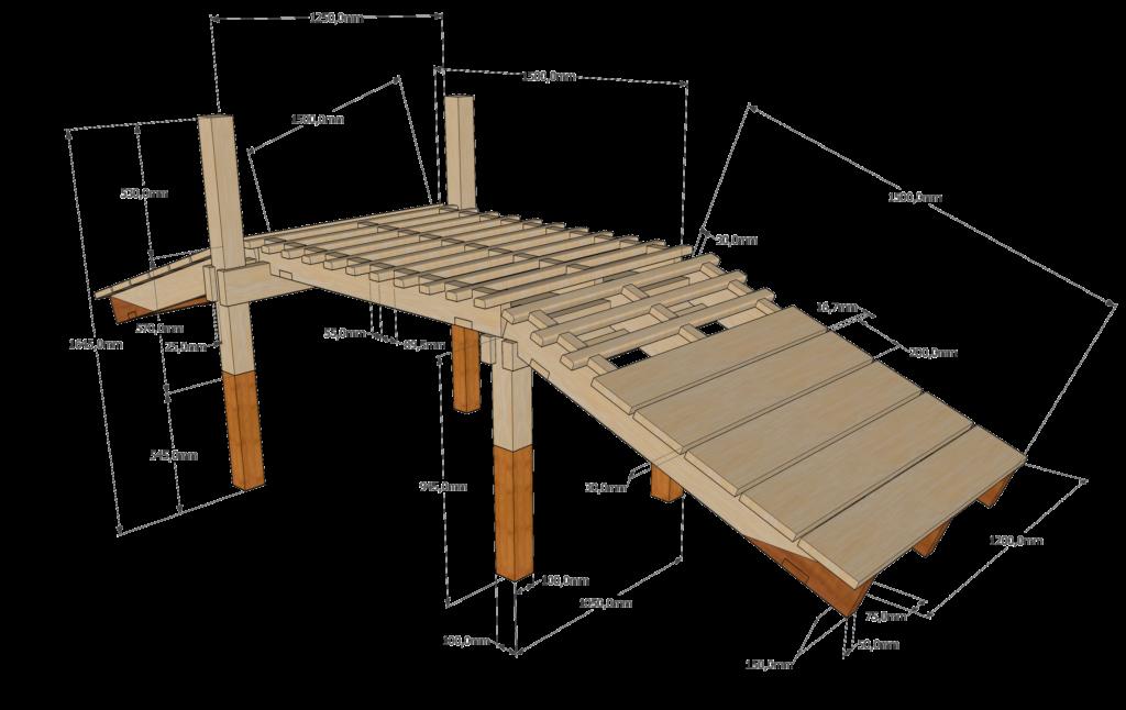 Vlonderbrug 3D ontwerp perspectief 1.3 rooster 120cm